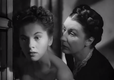 Joan Fontaine as Mrs de Winter with Judith Anderson as Mrs Danvers